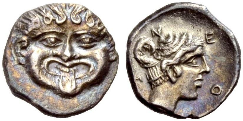AR Hemidrachmon 400-350 v. Chr. GRIECHISCHE MÜNZEN MAKEDONIEN: NEAPOLIS Gutes sehr schön