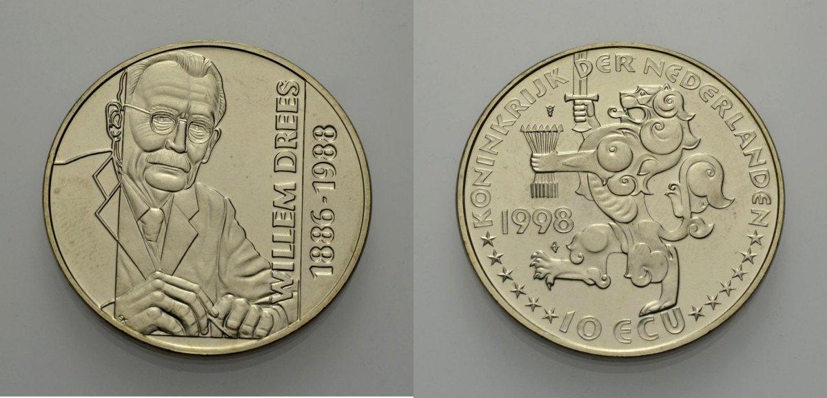 10 Ecu 1998 EUROPÄISCHE UNION NIEDERLANDE: WILLEM DREES Stempelglanz