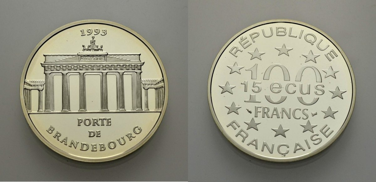 15 Ecus/100 Francs 1993 EUROPÄISCHE UNION BRANDENBURGER TOR/ PORTE DE BRANDEBOURG Polierte Platte