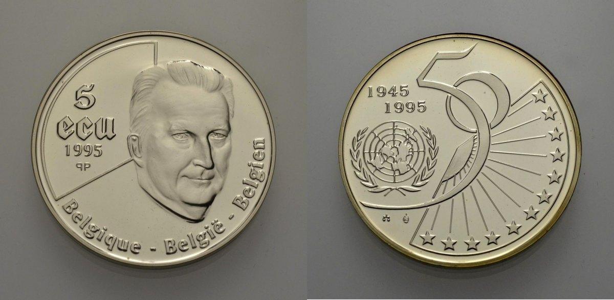 AR 5 Ecu 1995 EUROPÄISCHE UNION BELGIEN: 50 JAHRE UNO Polierte Platte