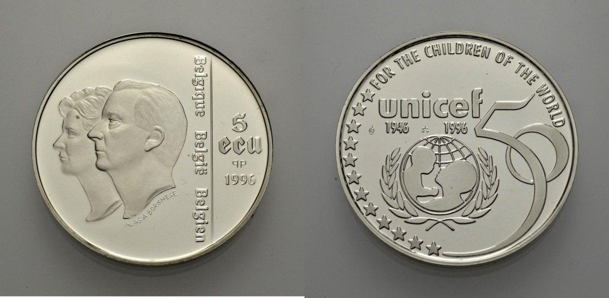 AR 5 Ecu 1996 EUROPÄISCHE UNION BELGIEN: 50 JAHRE UNICEF Polierte Platte