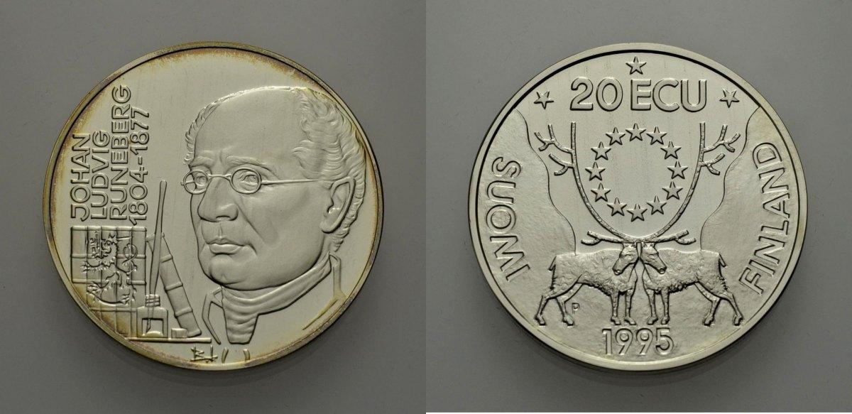 AR 20 Ecu 1995 EUROPÄISCHE UNION FINNLAND: JOHAN LUDVIG RUNEBERG Polierte Platte