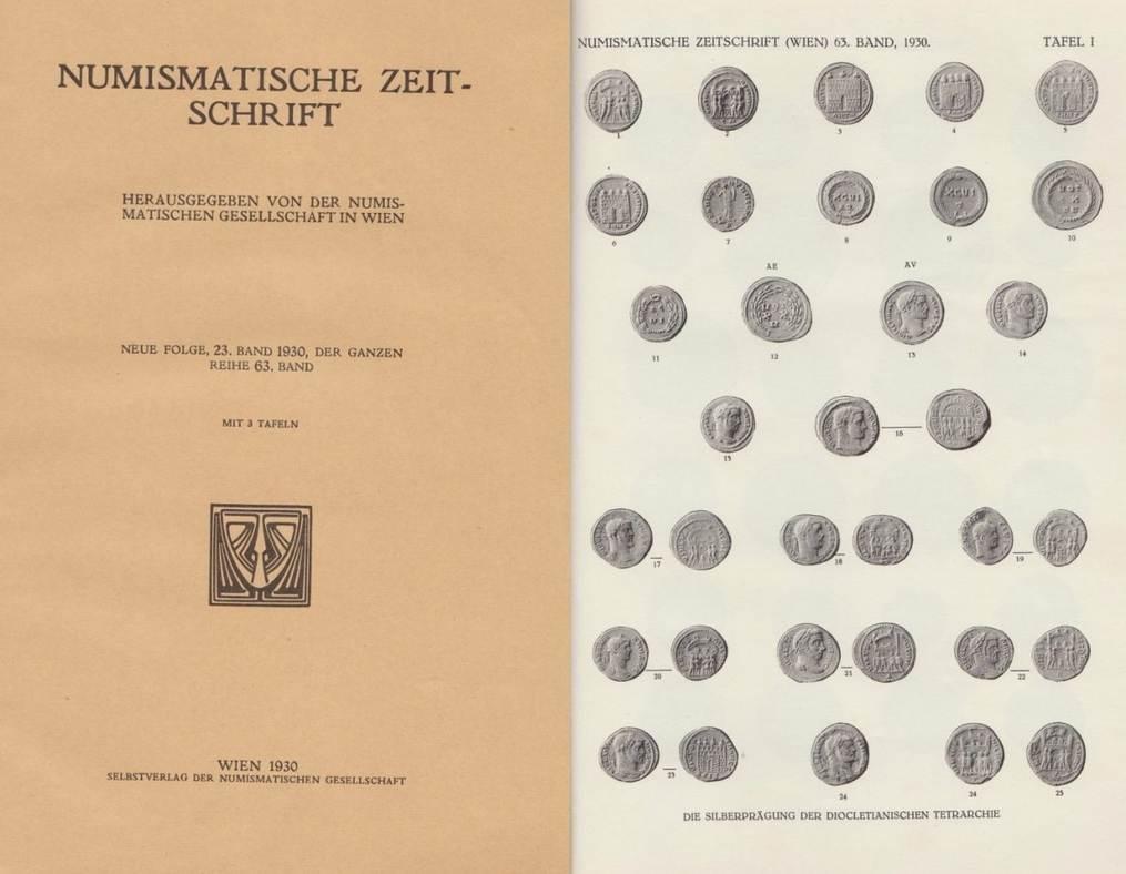 Literatur Antiquariat 1930 NUMISMATISCHE ZEITSCHRIFT NEUE FOLGE, BAND 23, DER GANZEN REIHE BAND 63. II-III