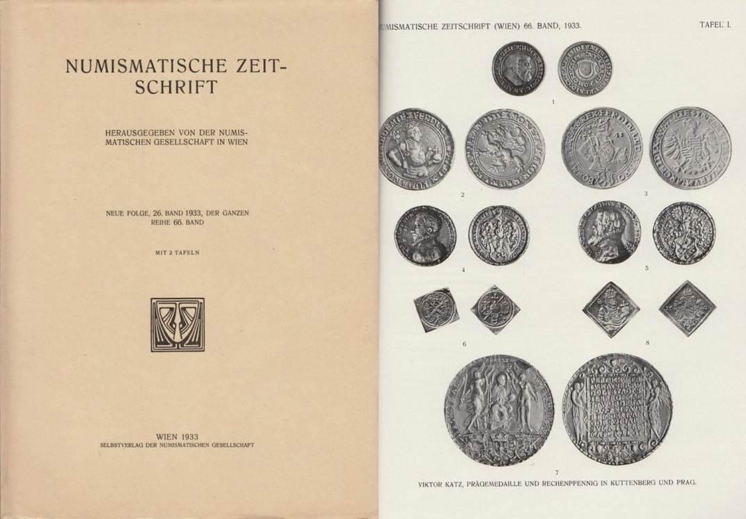 Literatur Antiquariat 1933 NUMISMATISCHE ZEITSCHRIFT BAND 26, NEUE FOLGE, (DER GANZEN REIHE 66) II-III