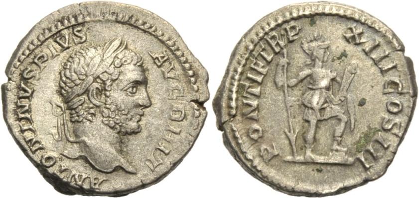 Denar 210-211. ROM, KAISERZEIT CARACALLA, 198-217. Gutes sehr schön