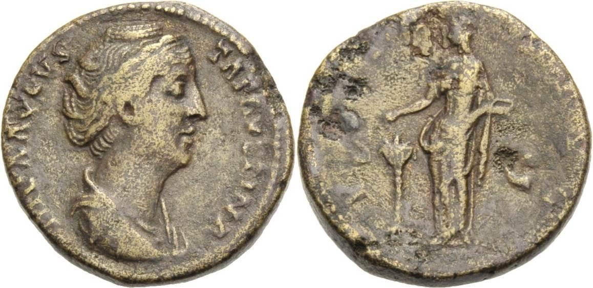 Dupondius. +141 ROMISCHE MÜNZEN, KAISERZEIT FAUSTINA SENIOR. Knapp sehr schön
