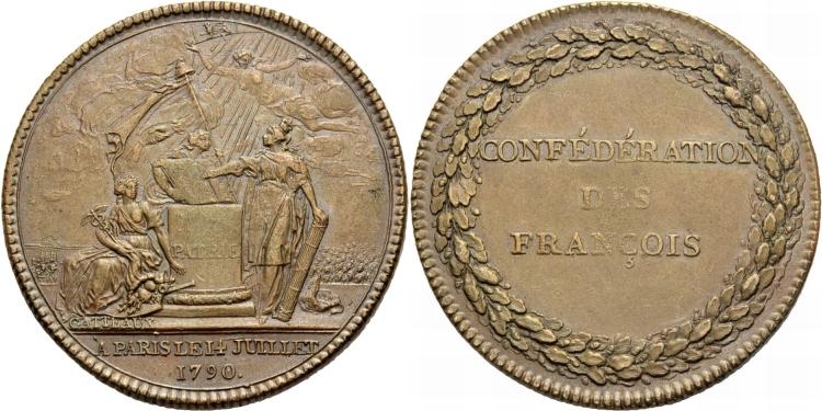 Bronzemedaille 1790 FRANKREICH Französische Revolution. Sehr schön