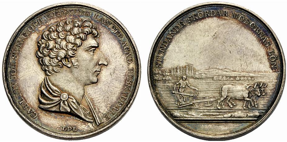 Preismedaille 1827 SCHWEDEN, KÖNIGREICH KARL XIV. JOHANN Vorzüglich