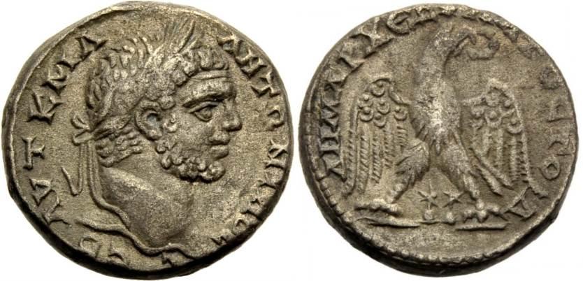Tetradrachme 197-217. GRIECHISCHE MÜNZEN, UNTER ROM PHÖNIZIEN, TRIPOLIS: CARACALLA. Sehr schön
