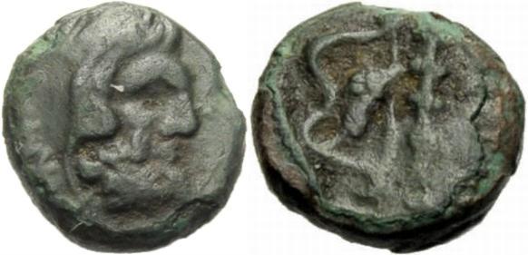 AE Kleinbronze 350 v. Chr GRIECHISCHE MÜNZEN INSELN VOR THRAKIEN: THASOS. Sehr schön