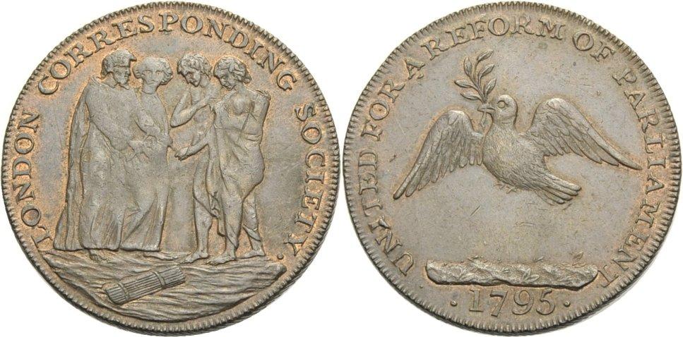 Halfpenny. 1795 BRITISCHE TRADE TOKEN. MIDDLESEX, LONDON CORRESPONDING SOCIETY. Ef/Vorzüglich.