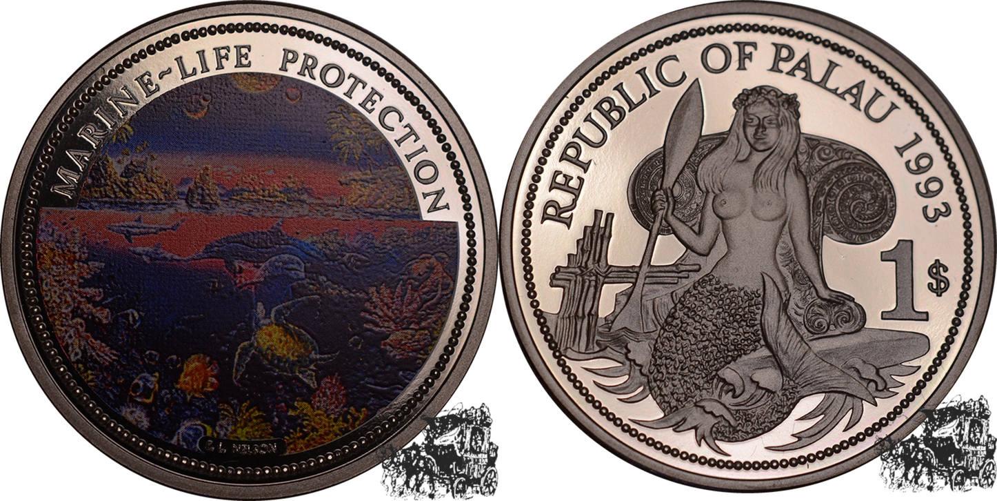 Palau 1 Dollar 1993 Meeresfauna Kupfer-nickel