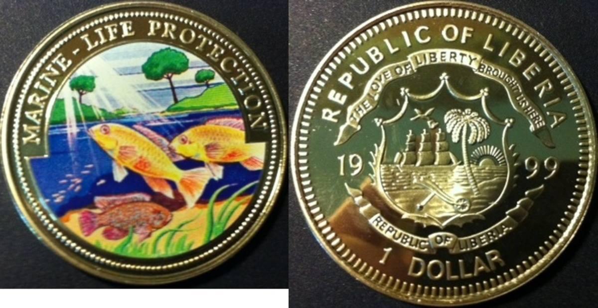 Liberien 1 Dollar 1999 Meeresfauna Kupfer-nickel
