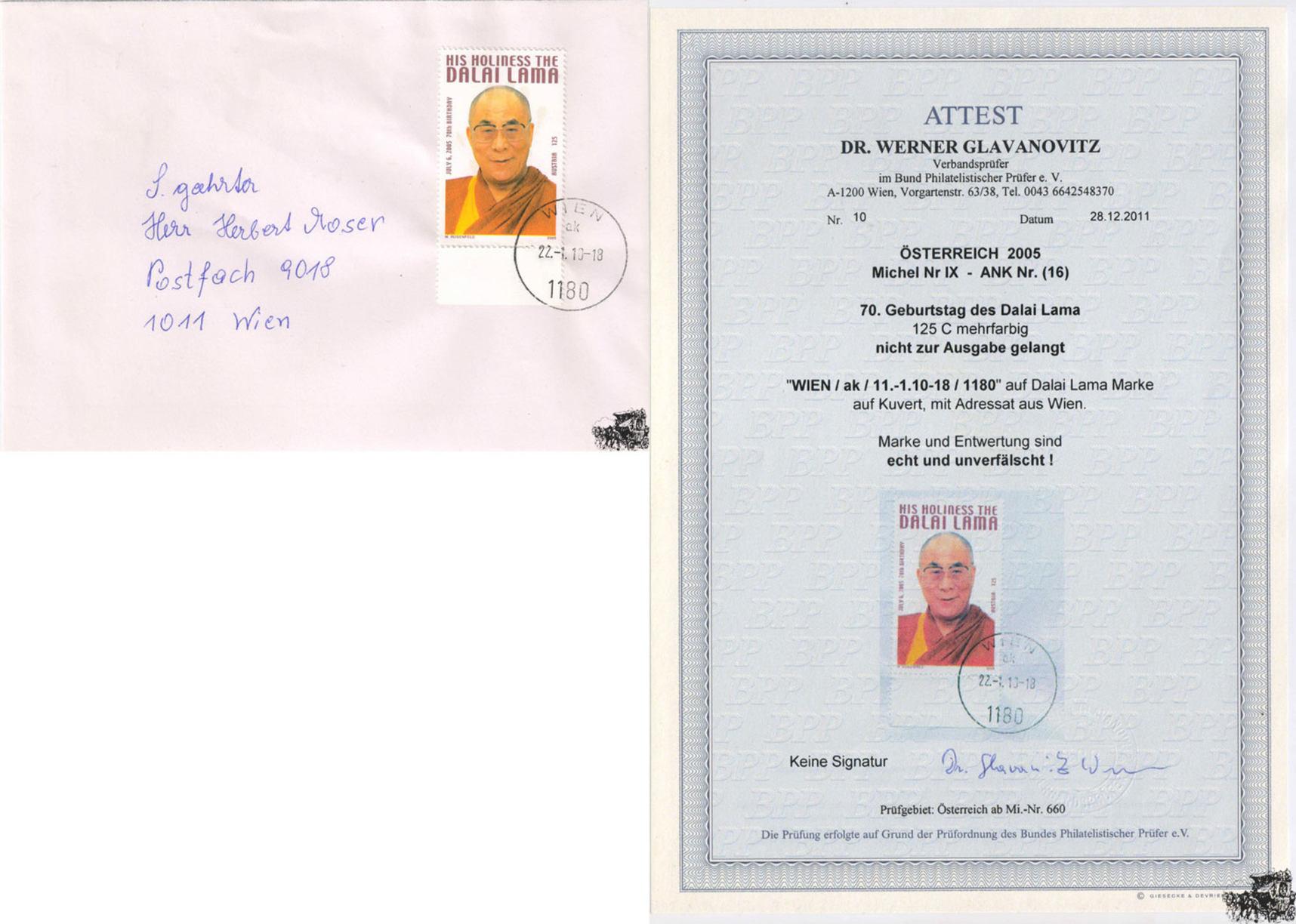 österreich 2005 Brief 125 Dalai Lama Nicht Verausgabte Ma Shops
