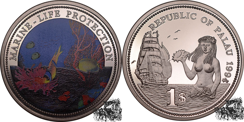 Palau 1 Dollar 1994 Meeresfauna Kupfer-nickel