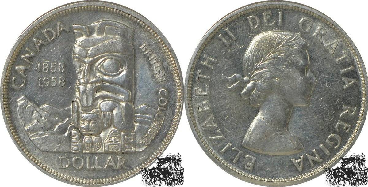 1 Dollar 1958 Totempfahl Silber