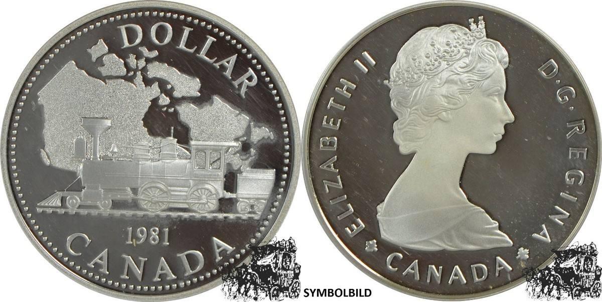 1 Dollar 1981 Transcontinental Railroad Silber