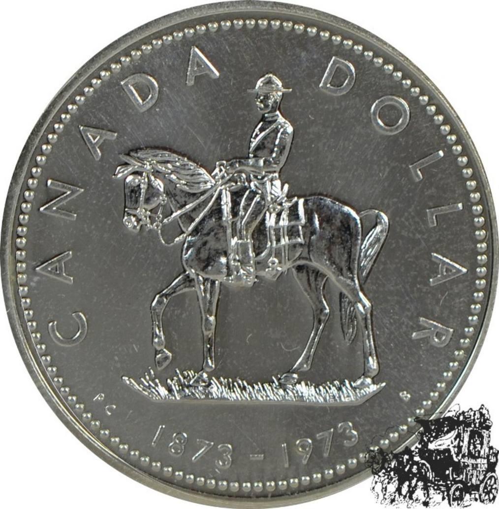 1 Dollar 1973 Mountie Silber