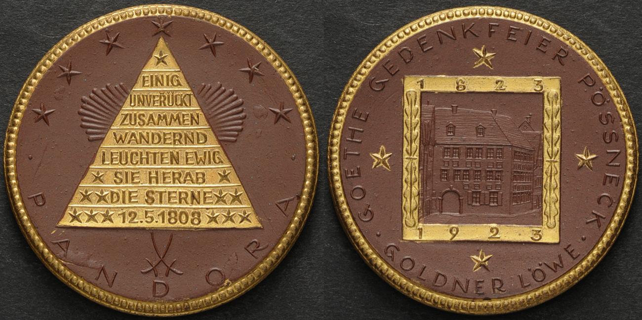 1923 Deutschland Gold Possneck Goethe 1923 Gedenkfeier Vorzuglich