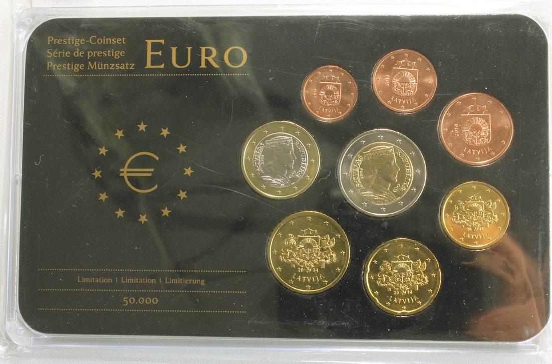 388 Euro 2014 Lettland Latvija Latvia Kursmünzensatz Prestige