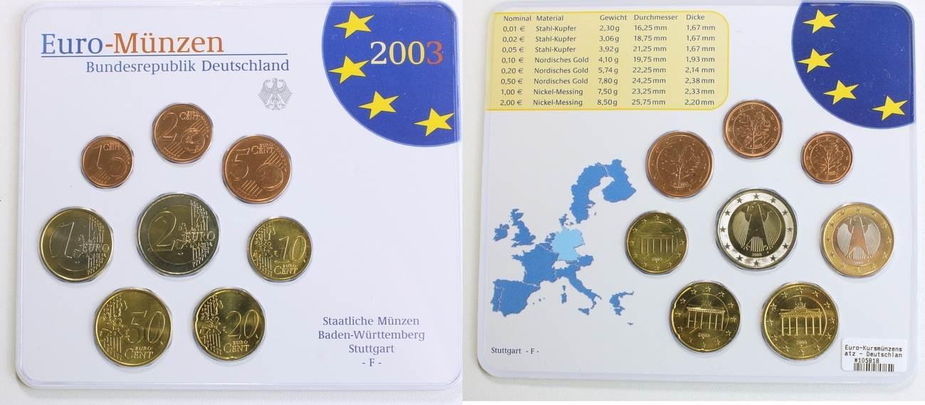 388 Euro 2003 F Deutschland Germany Brd Euro Kursmünzensatz