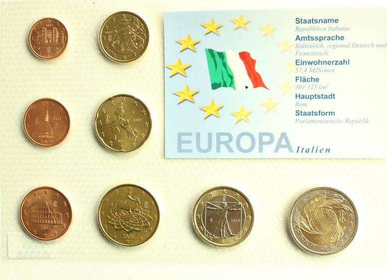 Italien Kursmünzensatz Europa Italien Euro Münzen Ma Shops