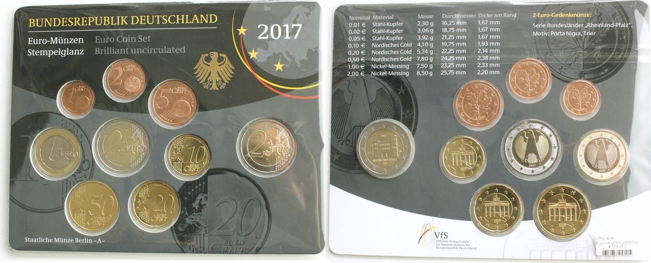 2017 Offizieller Euro Kursmünzensatz St Deutschland 2017 A 2