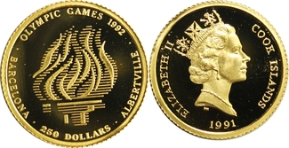 250 Dollars 1991 Cook-Inseln, Cook Islands Olympic Games Albertville/ Barcelona 1992 (Olympisches Feuer) PP offen