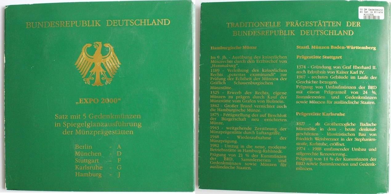 10 Dm 2000 Deutschland Gedenkmünzen Set Expo 2000 Pp Ma Shops