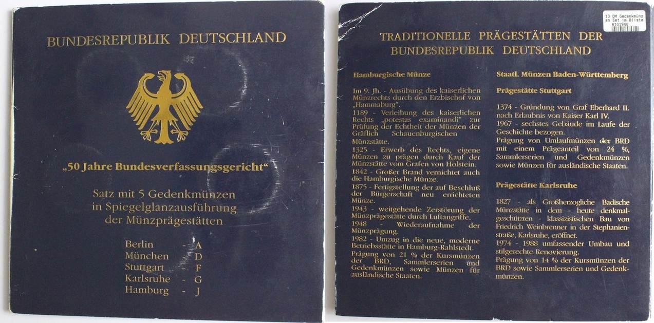 10 Dm 2001 Deutschland Gedenkmünzen Set 50 Jahre