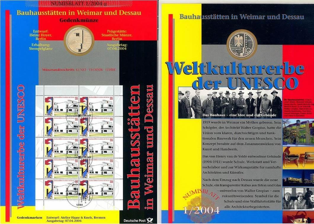 10 Euro 2004 Deutschland Numisblatt 12004 Bauhaus Dessau St Ma