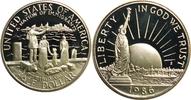 """Amerika, Vereinigte Staaten, USA, America 1/2 Dollar 100 Jahre Freiheitsstatue vor dem Hafen von New York (Einwanderer) """"S"""""""