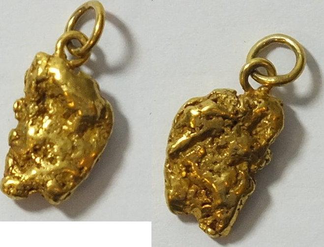 ca. 90 % Gold Natürlicher Nugget Anhänger Natürlicher Nugget ca. 90 % Gold, 3,18 Gramm, ca, 15 x 9 mm leichte Tragespuren