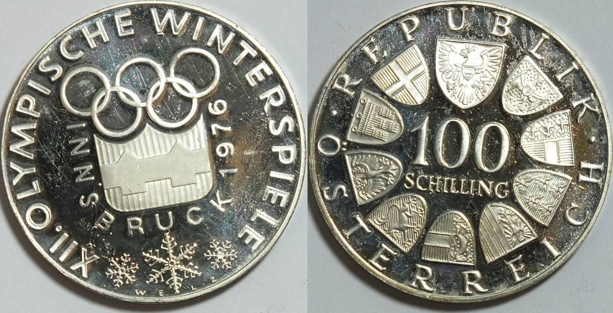 100 schilling 1976 sterreich austria insbruck 1976 vz. Black Bedroom Furniture Sets. Home Design Ideas