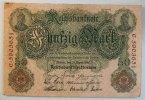 Deutsches Reich 50 Mark Rosenberg Nr. 42, Serie C, Unterdruck T,  KN 7-stellig