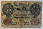 Deutsches Reich 20 Mark Rosenberg Nr. 31, Serie D, Unterdruck D,  KN 7-stellig