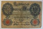 Deutsches Reich 20 Mark Rosenberg Nr. 40 , Serie K, Unterdruck E,  KN 7-stellig  mit Wasserzeichen