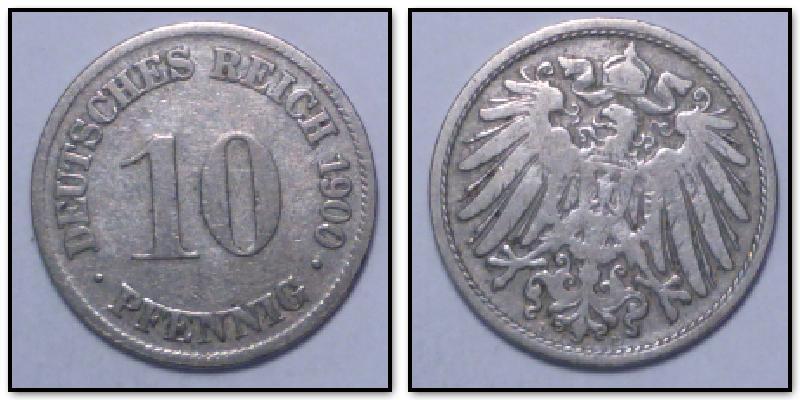 10 Pfennig 1900 D Kaiserreich Deutsches Reich Ss Ma Shops