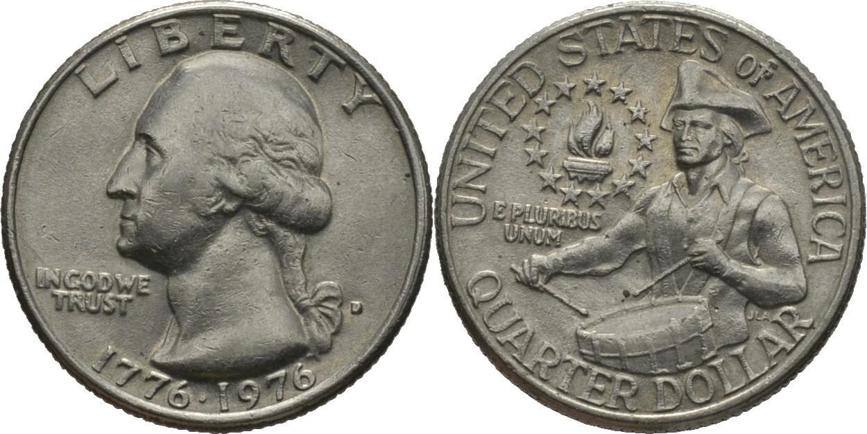 14 Dollar Quarter 1976 D Amerika Präsident Von Amerika George Washington 17321799 Vz