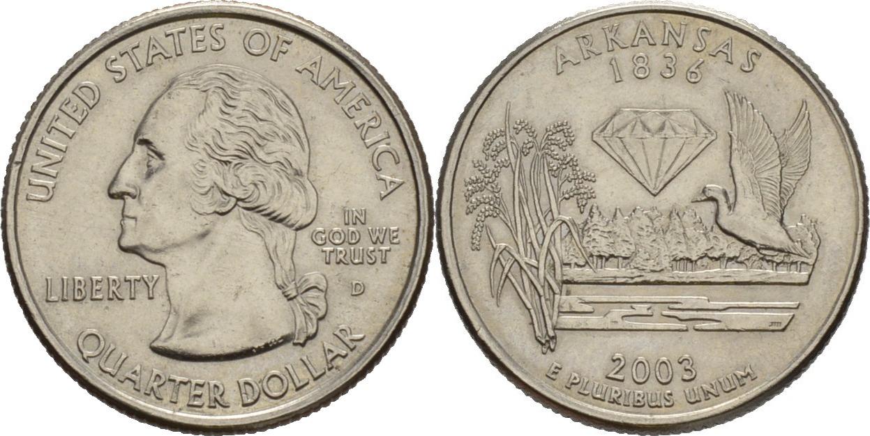 14 Dollar State Quarter 2003d Amerika Präsident Von Amerika George Washington 17321799 Arkansas Vz