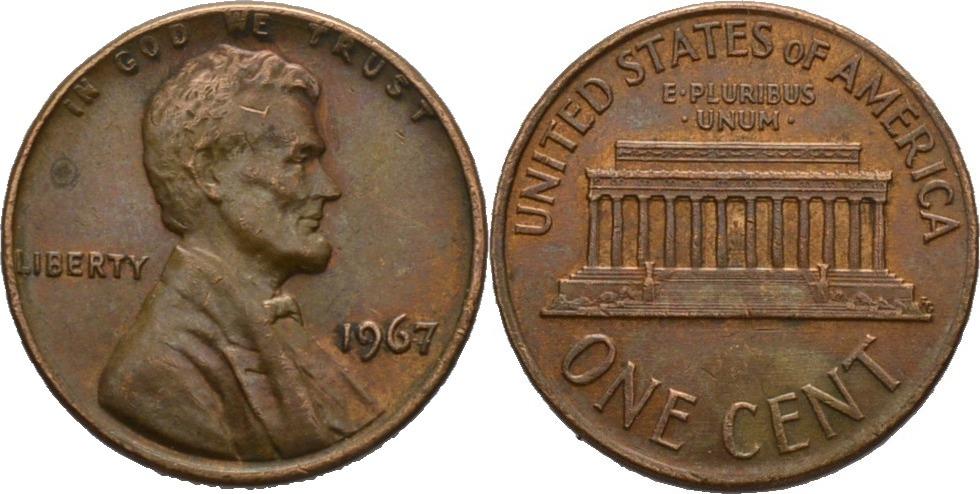 1 Cent 1967 Amerika Präsident Von Amerika 1967 Lyndon Baines