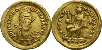 Solidus 408-450 n.C Konstantinopel Theodosius II 430-440 n.Chr. Prachtexemplar ( leicht berieben )
