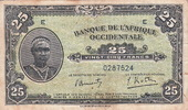 French West Africa 25 Francs WOMAN P.30a