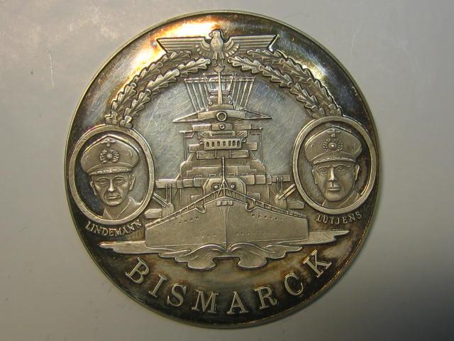 2 Weltkrieg 1981 Deutschland Medaille Schlachtschiff Bismarck Pp
