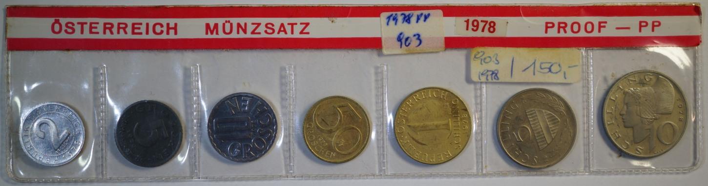 16.67 Schilling 1978 Österreich Kursmünzensatz PP, Patina
