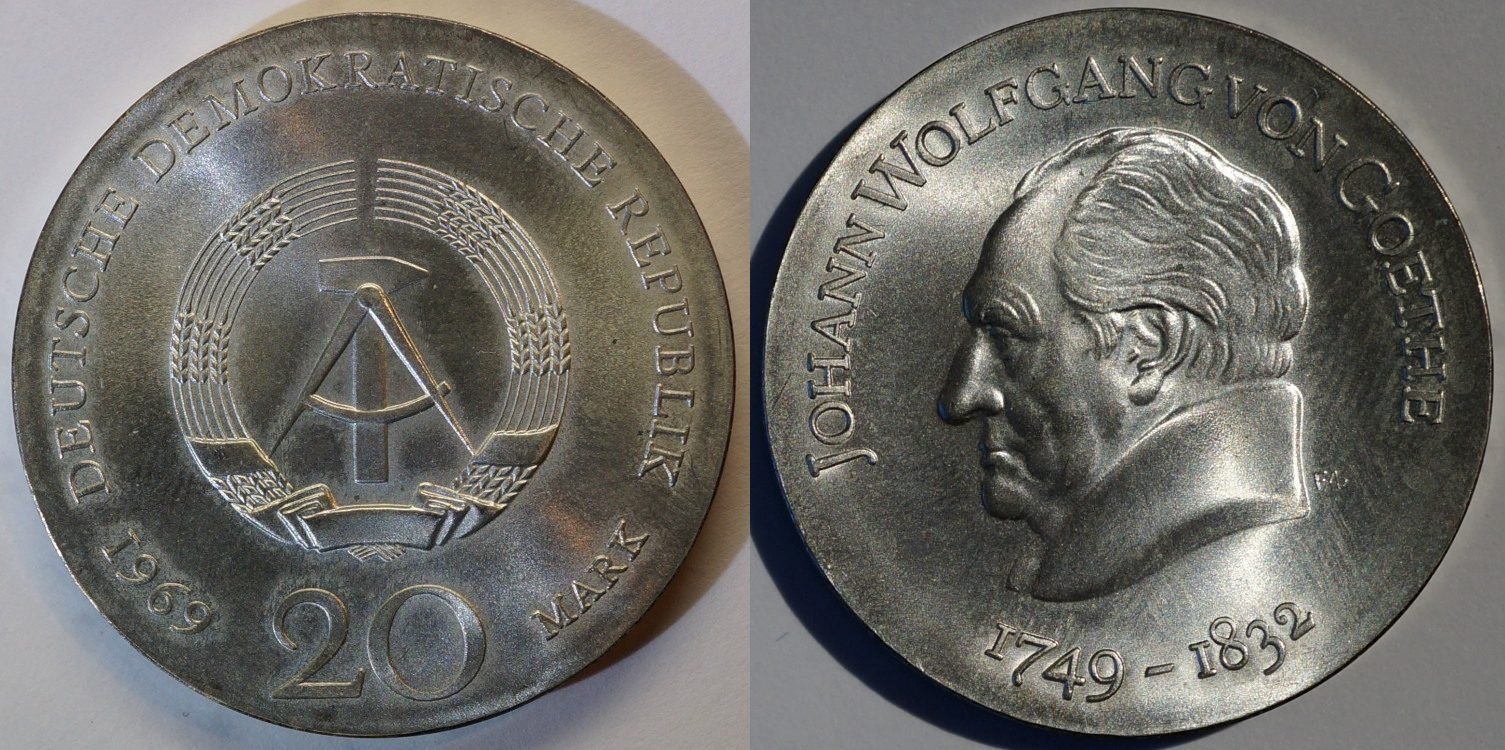 20 Mark 1969 DDR J.W. Goethe fast st