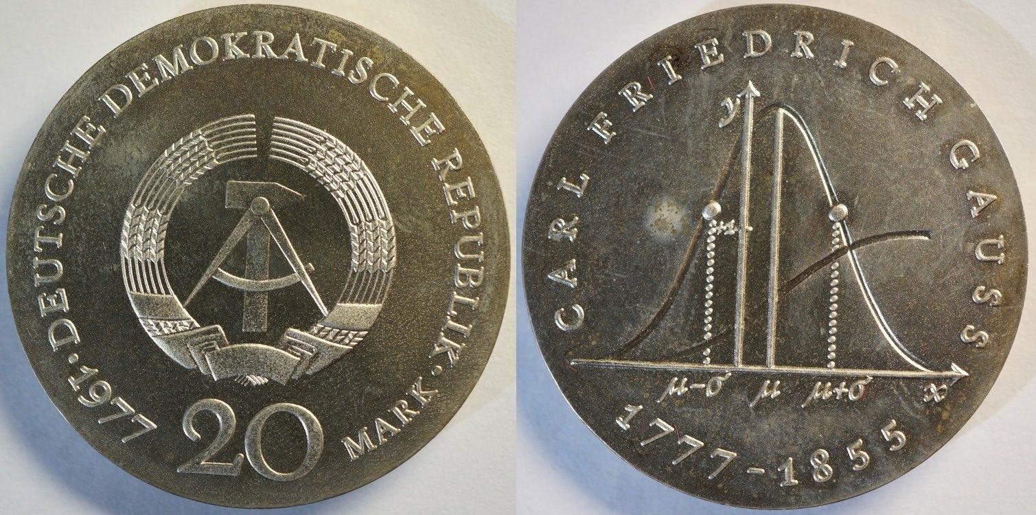 20 Mark 1977 DDR 200. Geburtstag von Carl Friedrich Gauss fast st