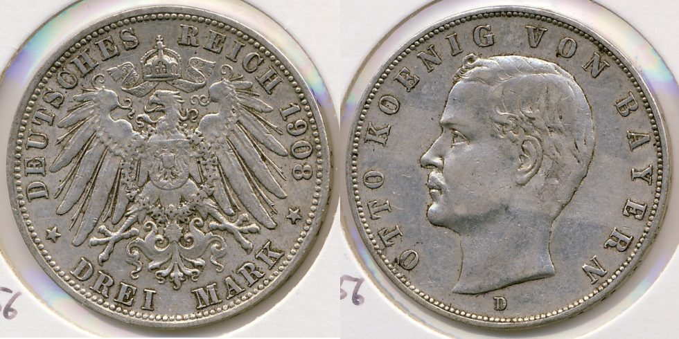 3 Reichsmark 1908 D Kaiserreich - Bayern Otto ss