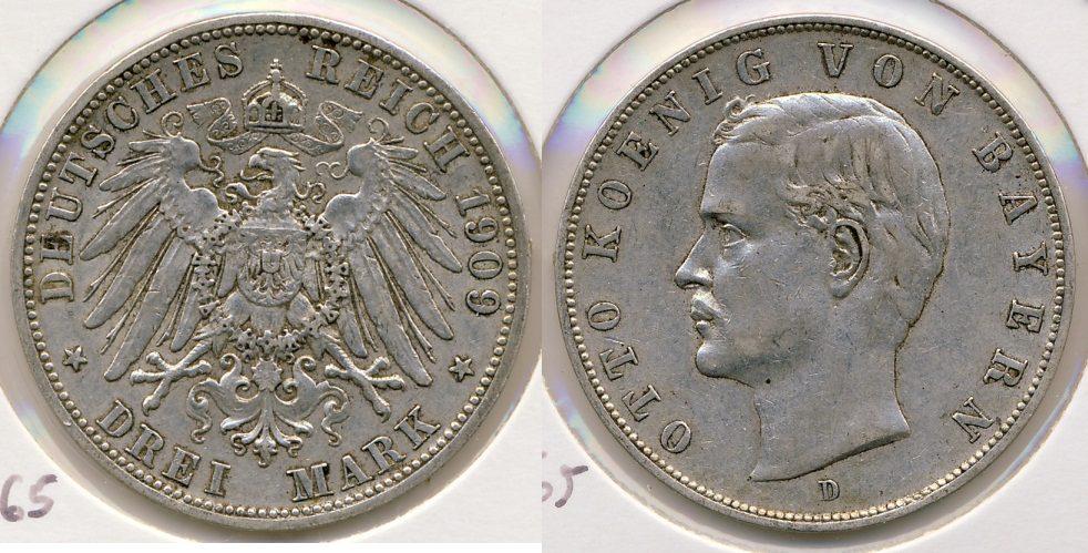 3 Reichsmark 1909 D Kaiserreich - Bayern Otto ss