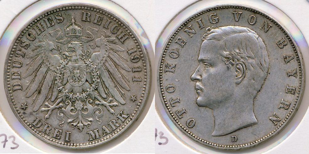 3 Reichsmark 1911 D Kaiserreich - Bayern Otto ss